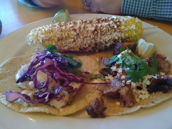 Little Donkey: 1Fish taco and 1 brisket taco and corn on the cob