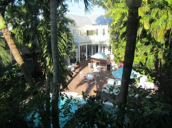 The Gardens Hotel:                                     view of the pool area from our verandah