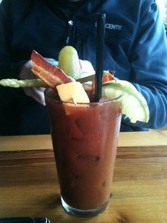 Cafe Hollander:                   Bloody Mary with bacon and cheese!