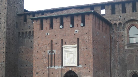Castello Sforzesco: New patches over the Castle's walls, part of the renewal.