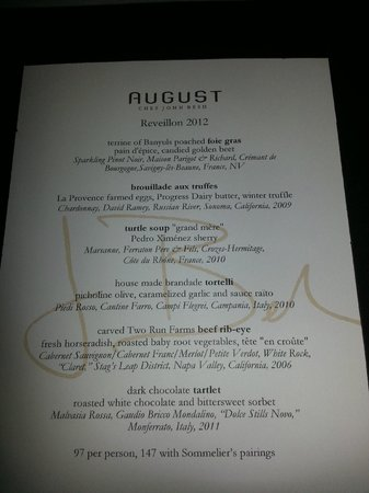 Restaurant August:                                     reveillon menu