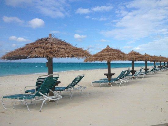 Grace Bay: one of the resort  Tiki umbrella shades