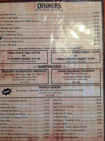 Sam's Sourdough Cafe:                   dinner menu