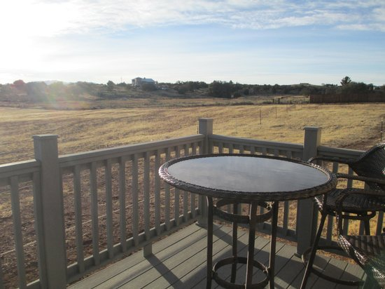 Xanadu Ranch GetAway / Private Guest Rooms / Guest Ranch & Horse Motel :                   View from Bunk House private porch