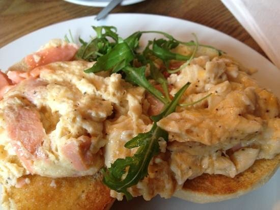 Cafe 76:                   scrambled egg with salmon on an English muffin