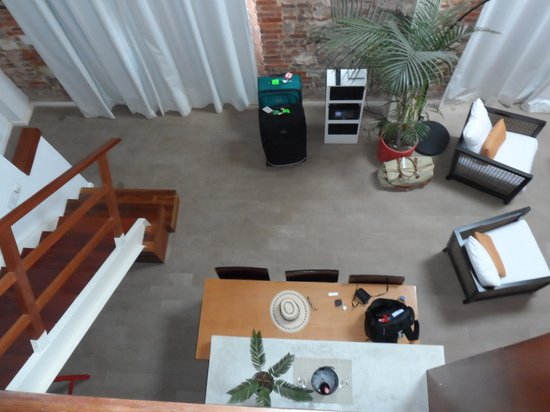 Casa del Horno:                   Looking down from the upper level bedroom