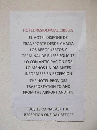 Hotel Residencial Cibeles : Politique de transport gratuit.