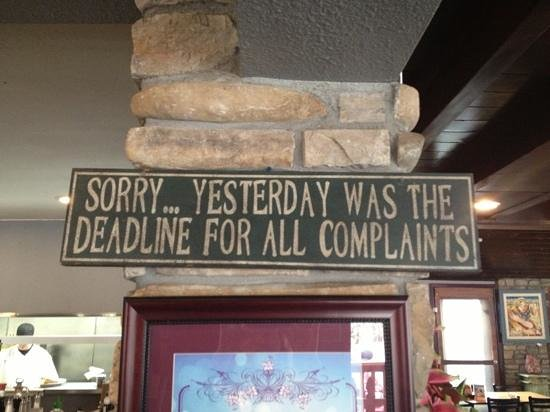 The Mile High Cafe: funny sign inside