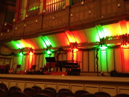 Troy Savings Bank Music Hall: Stage lit for the Christmas concert