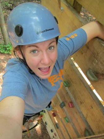 Gravity Trails: Climbing the rock wall up to the first zip line!