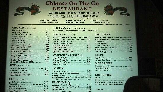 Chinese On the Go: Menu board