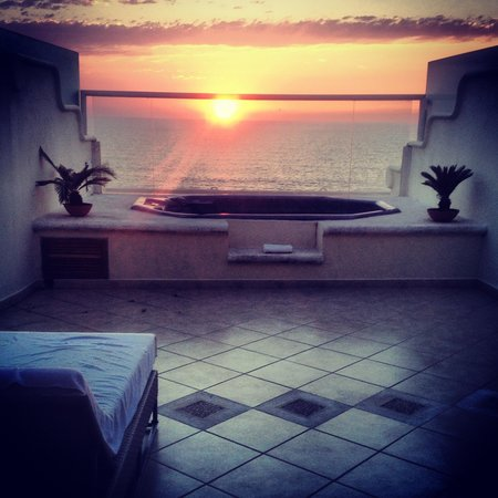 Grand Velas Riviera Nayarit:                   Our sunset view from our hot tub!
