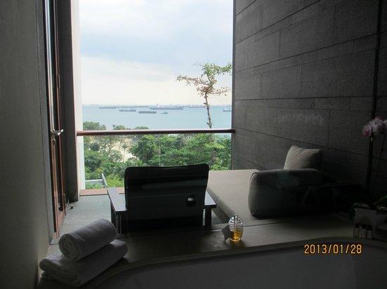 Capella Singapore:                   バスタブからベランダとその奥の海を見る