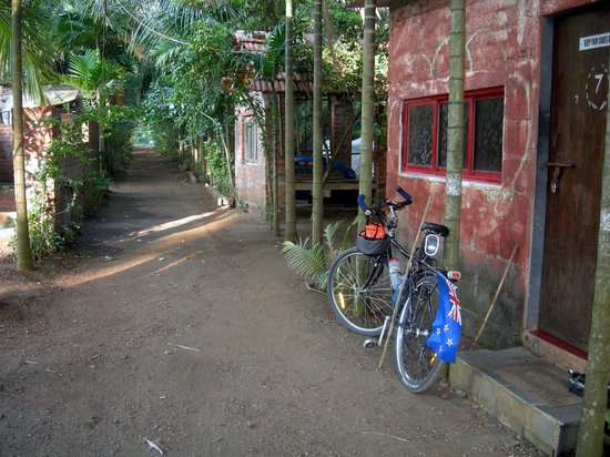 Subhan Beach Resort:                   My bike is outside my room looking away from the sea.