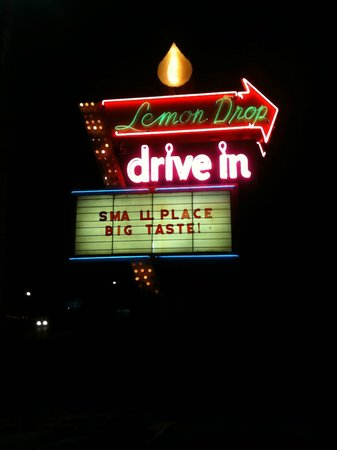 Lemon Drop:                                     Their sign looks even better at night!