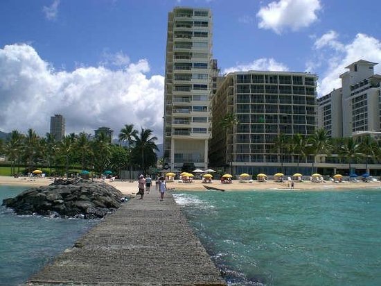 Waikiki Shore Hotel from breakwater wall