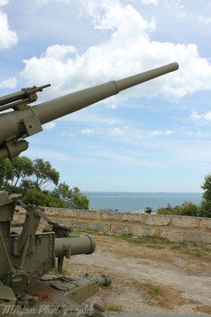 Leighton Battery Guns:                   One of the guns looking overthe ocean