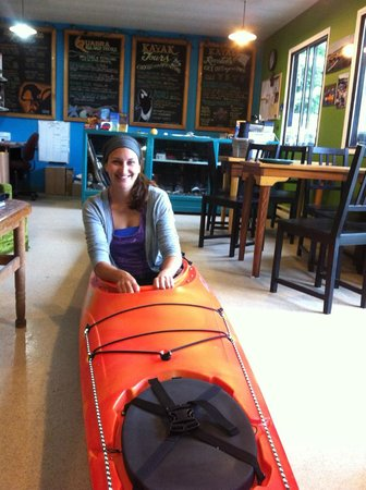 Quadra Island Kayaks - Day Tours: Emma, ready to book your tour with QIK at the Yak Shack