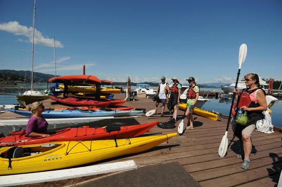 Quadra Island Kayaks - Day Tours: brief lesson on the dock before we launch....