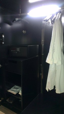 Hard Rock Hotel Singapore:                   Wardrobe with Robe, Lock Safe, Iron & Iron Board, Torchlight & Sanitary bags.
