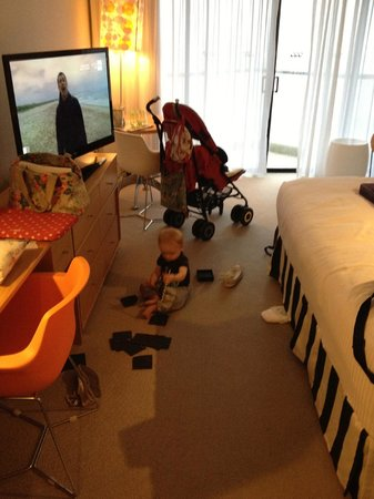 QT Gold Coast :                   Enough room even for a toddler - cots provided are travel cots