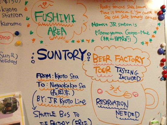 Kyoto Hana Hostel:                   Day trip to the brewery available