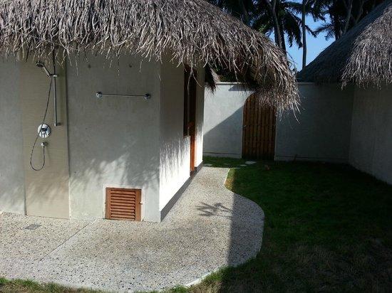 Kuramathi Island Resort:                                     Deluxe beach villa with jacuzzi - open area