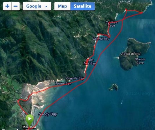 Abel Tasman Paddleboarding:                   The route - first day