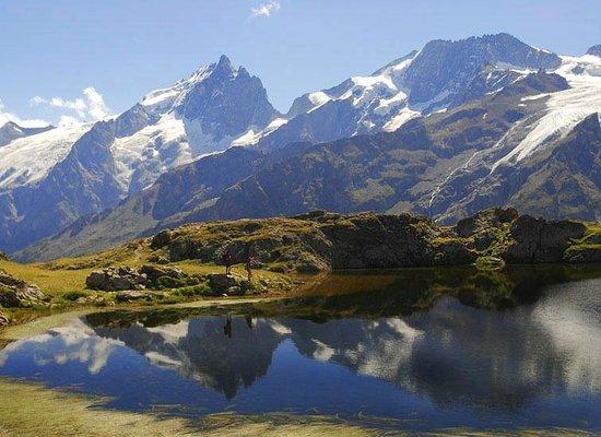 Hautes-Alpes, France:                   La Meije (3983m) vue du Lac Lérier