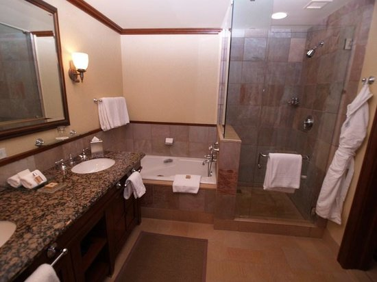 Four Seasons Resort and Residences Whistler:                                     vista del baño ducha y jacuzzi