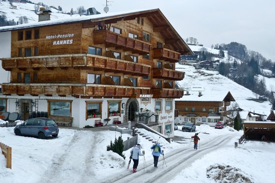 Hotel Hannes:                                     Walking back to the hotel after skiing