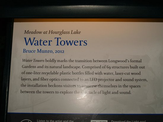 Longwood Gardens:                   Ligth Installation label
