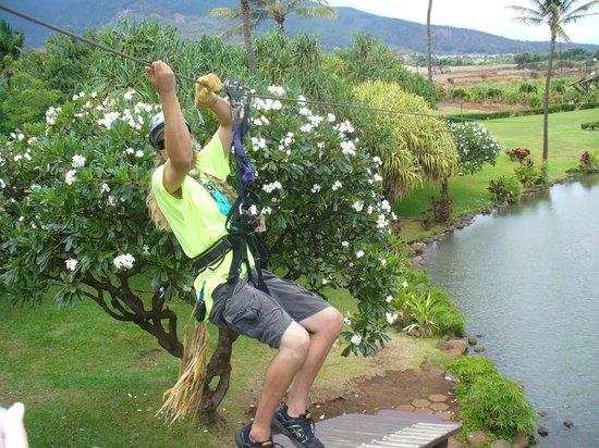 Maui Zipline Company:                   And he is off!