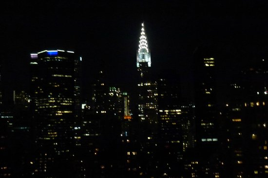 Dumont NYC–an Affinia hotel:                   Night time view of chrysler