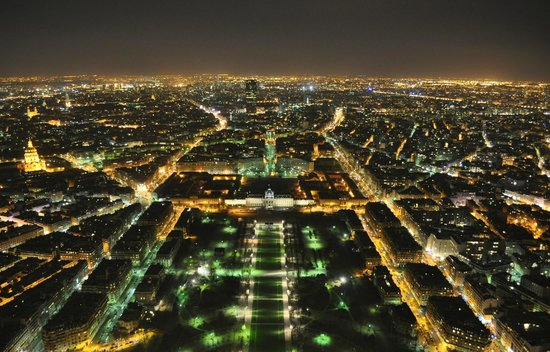 Paris At Night From The Top Of Eiffel Tower