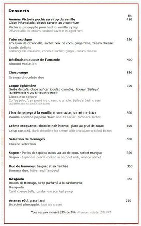 Sofitel So Mauritius: Carte restaurant