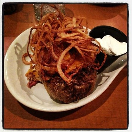 Down to the Bone BBQ & Co. :                   BBQ Potato. Its huge and a meal on its own!