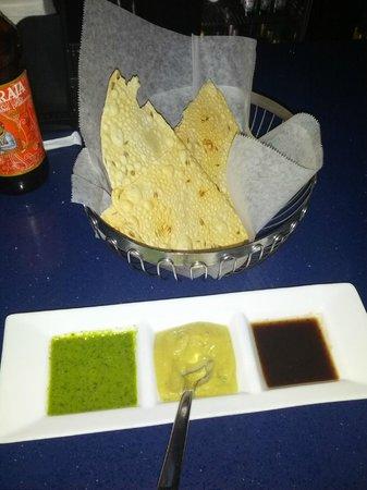 Bollywood Bistro: Three sauces: cilantro, hummus and tamarin