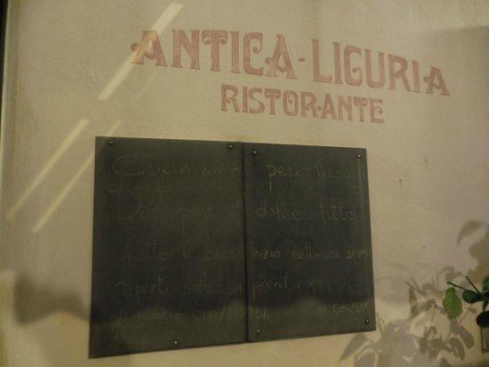 Ristorante Antica Liguria:                   insegna