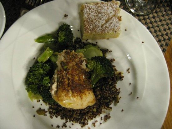 Asilomar Conference Grounds: Dinner - Fish with red quinoa and coconut square