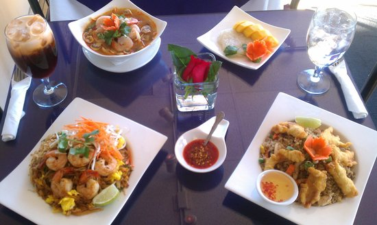 Bree Thai Restaurant this is our Pad Thai Shrimp, Souther Fried Rice Chicken, Tom Yum Shrimp, St