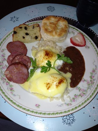 Barrow House Inn :                                     Breakfast day one:  Poached eggs with  Andouille and redbean