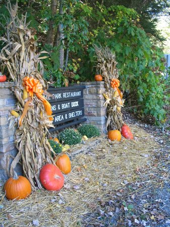 Cumberland Mountain State Park:                   Fall Decor at entrance