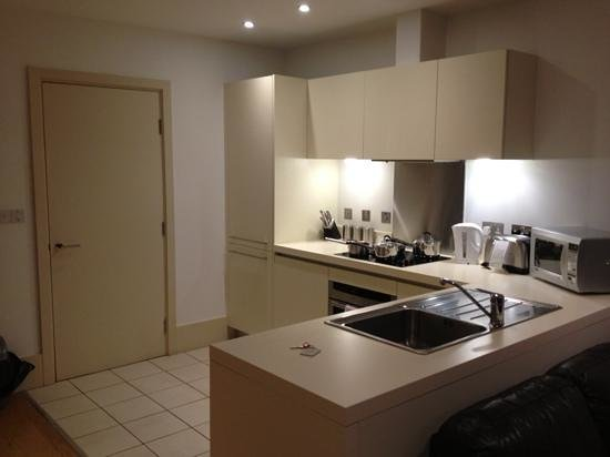 L3 Living - The Merchant Quarters, Liverpool:                                     kitchen in room 8... has everything you need for a short bre