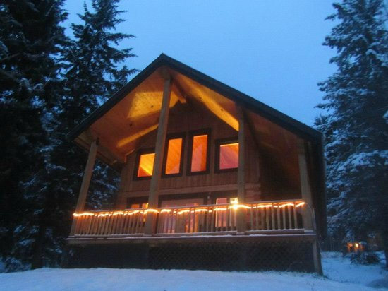 Mount 7 Lodges:                   Front view of Deer Lodge at night