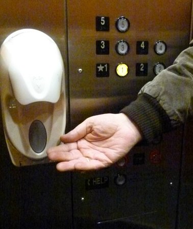 Courtyard Chicago O'Hare:                   Hand sanitizer in the elevators