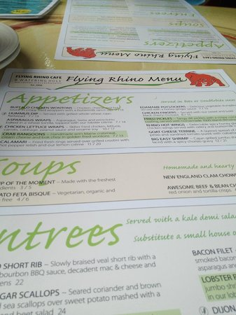 Flying Rhino Cafe: menu