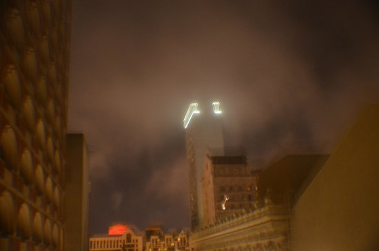 Hotel Beresford: building lights in the fog