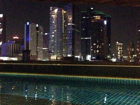 Pullman Bangkok Hotel G:                   View from the pool at night