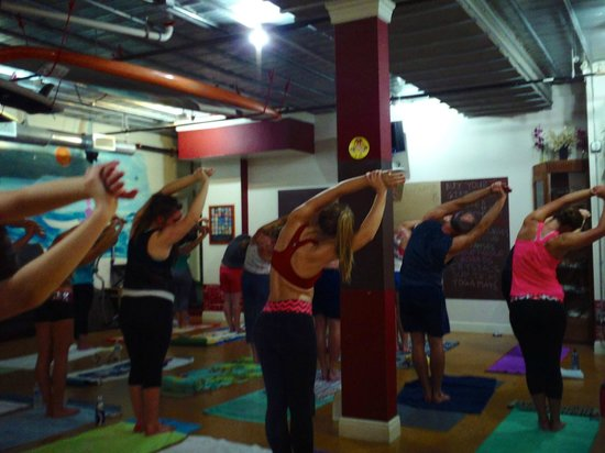 Starting another awesome hot yoga class at the Yoga Energy Studio